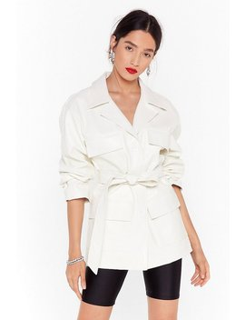 Faux Leather Belted Moc Croc Jacket by Nasty Gal