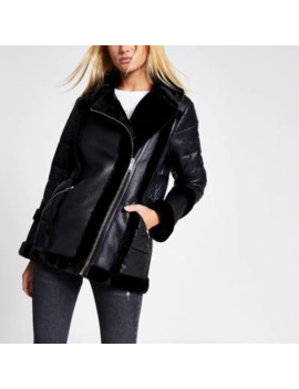 Black Faux Fur Padded Aviator Jacket by River Island