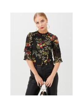Oriental Frill Sleeve Top   Multi by Oasis