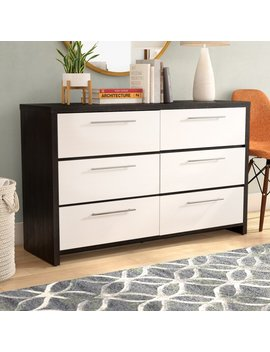 White; Espresso Clarkedale 6 Drawer Double Dresser by Langley Street