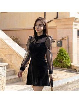 Babi N Pumkin   Sheer Mesh Sleeve Velvet Minidress by Babi N Pumkin