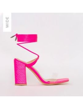 Ruby Wide Fit Pink Patent Croc Print Clear Lace Up Mid Block Heels by Simmigirl