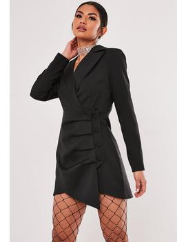 Black Ruched Side Blazer Dress by Missguided