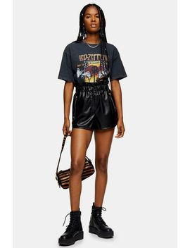 Black Soft Faux Leather Pu Runner Shorts by Topshop