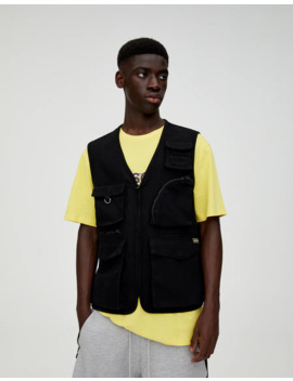 Black Utility Gilet With Pockets by Pull & Bear