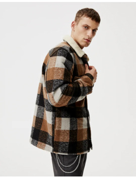 Checked Overshirt With Faux Shearling Collar by Pull & Bear