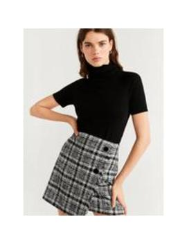 Wrap Button Tweed Skirt   Black by Mango