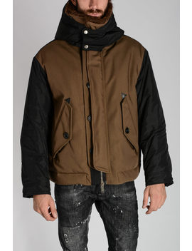 Hooded Padded Jacket With Fur Collar by Dsquared2