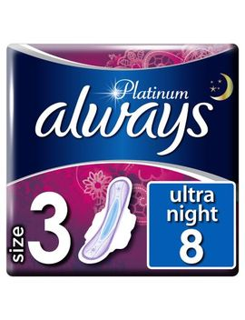 Always Platinum Night (Size 3) Sanitary Towels Wings 8 Pads by Always