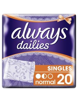 Always Dailies Singles Panty Liners Normal X 20 by Always