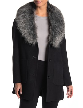 Faux Fur Collar Wool Blend Coat by Laundry By Shelli Segal