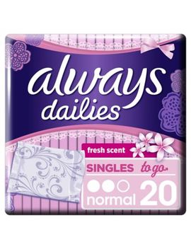 Always Dailies Singles To Go Panty Liners Fresh X 20 by Always