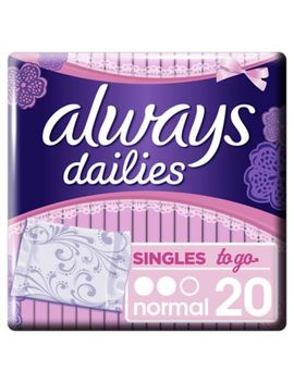 Always Dailies Singles To Go Panty Liners X 20 by Always