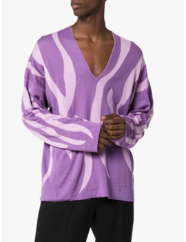 Striped Wool V Neck Sweater by Sulvam