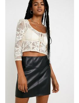 Uo Faux Leather Corset Mini Skirt by Urban Outfitters