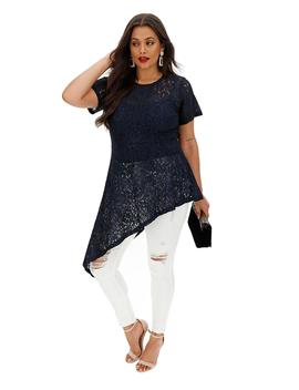 Lovedrobe Lace Dramatic Asymetric Blouse by Simply Be