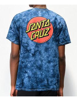 Santa Cruz Classic Dot Navy Tie Dye T Shirt by Zumiez
