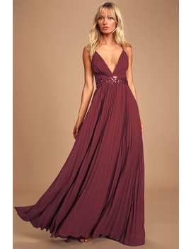 Loving You Forever Burgundy Sequin Lace Pleated Maxi Dress by Lulus