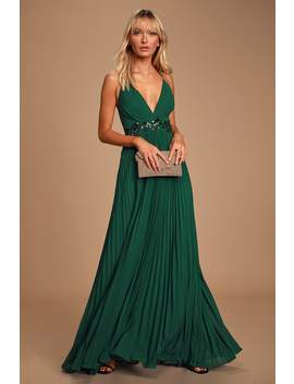 Loving You Forever Hunter Green Sequin Lace Pleated Maxi Dress by Lulus