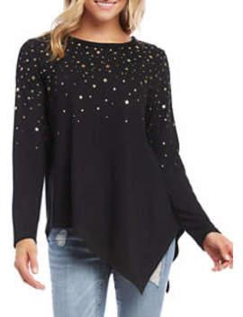 Women's Metallic Star Print Sweater by Karen Kane