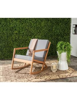 Vernon Teak Brown Outdoor Patio Rocking Chair With Gray Cushion by Safavieh