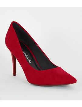 Red Suedette Stiletto Court Shoes by New Look