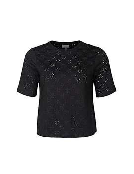 Broderie Black Jersey T Shirt by Olivar Bonas