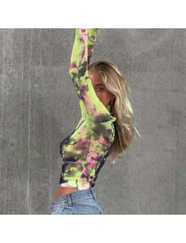 Waatfaak Tie Dye Sexy Transparent Mesh T Shirt Women Long Sleeve T Shirt Turtleneck Crop Tee Shirt Casual Basic Cropped Top 2019 by Ali Express