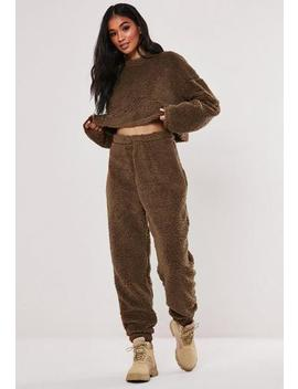 Camel Borg Teddy Oversized Joggers by Missguided