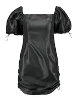 Taffeta Mini Dress With Puff Sleeve And Toggle Drawstring Detail   Day Dress by The Ragged Priest