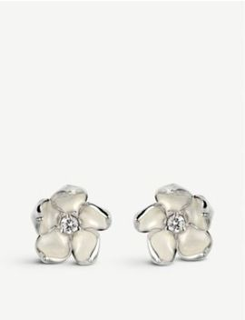 Cherry Blossom Silver And Diamond Stud Earrings by Shaun Leane