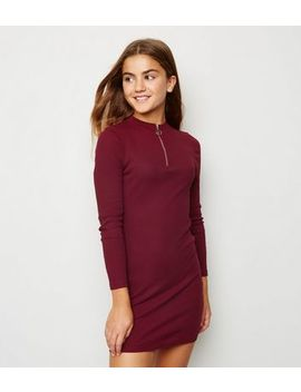 Girls Burgundy Ribbed Zip Front Bodycon Dress by New Look