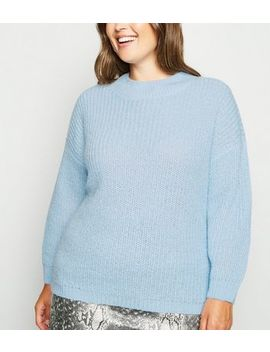 Curves Pale Blue Crew Neck Boxy Jumper by New Look