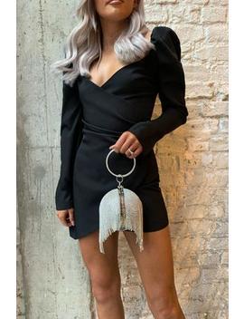 Black Wrap Front Puff Sleeve Mini Dress by Club L London