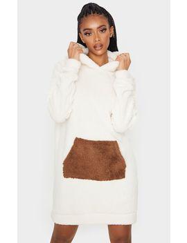 Camel Contrast Pocket Front Borg Hoodie Jumper Dress by Prettylittlething