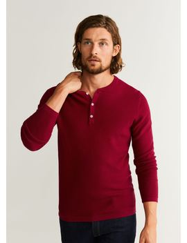 Structured Henley Collar Sweater by Mango