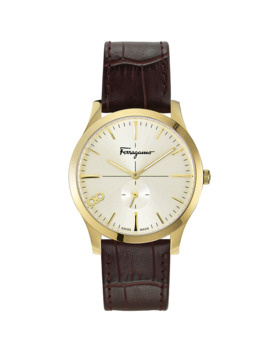 Men's Slim Gent 40mm Textured Leather Watch by Salvatore Ferragamo