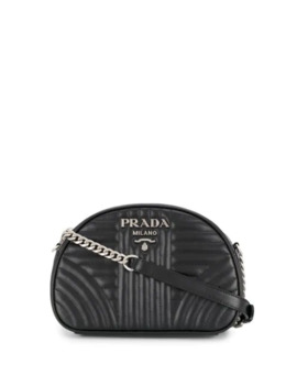 Diagramme Quilted Effect Shoulder Bag by Prada