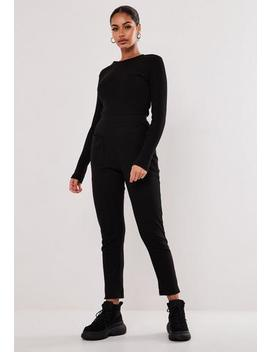 Black Long Sleeve Jersey Rib Pocket Front Jumpsuit by Missguided