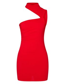 Red High Neck Sleeveless Cut Out Bodycon Dress by Prettylittlething