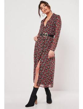 Red Floral Button Down Midi Dress by Missguided