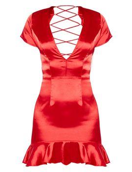 Red Criss Cross Back Frill Hem Bodycon Dress by Prettylittlething