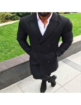 Men Wool Coat Winter Trench Lapel Outwear Warm Overcoat Long Jacket Peacoat Sh190904 by D Hgate.Com