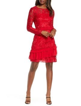 Long Sleeve Chiffon Trim Lace Dress by Taylor Dresses