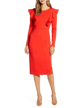 Ruffle Long Sleeve Ponte Dress by Rachel Parcell
