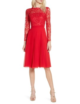 Naarah Long Sleeve Lace Bodice Chiffon Cocktail Dress by Chi Chi London