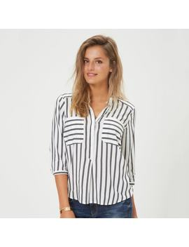 Striped V Neck Blouse With 3/4 Length Sleeves by Vero Moda