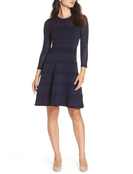 Mix Stitch Pointelle Fit & Flare Dress by Vince Camuto