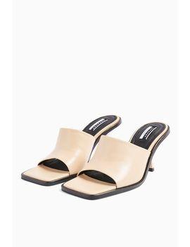 Rada Cream Leather Square Toe Mules by Topshop
