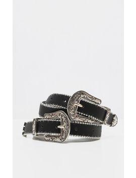Black Skinny Silver Double Western Belt by Prettylittlething